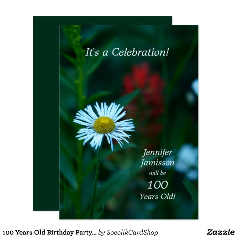 100 Year Old Birthday Decorations  100 Years Old Birthday Party Invites White Flower
