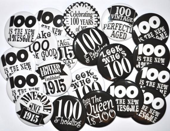 100 Year Old Birthday Decorations  20 Buttons 100th birthday 100 and holding 100 by