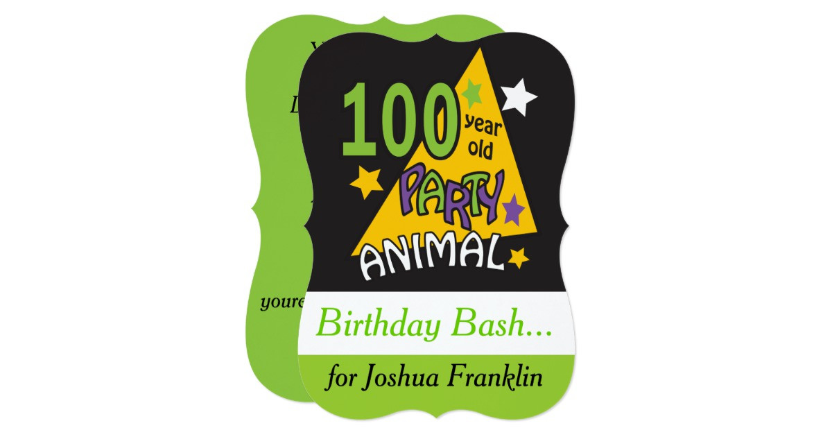 100 Year Old Birthday Decorations  100 Year Old Party Animal 100th Birthday Card