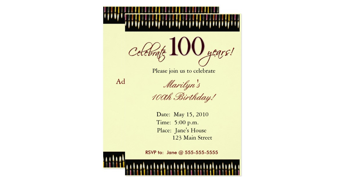 100 Year Old Birthday Decorations  100 Year old Birthday party invitation