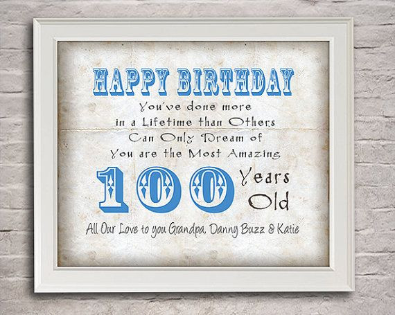 100 Year Old Birthday Decorations  100 Years Old Birthday Gift for Grandpa by