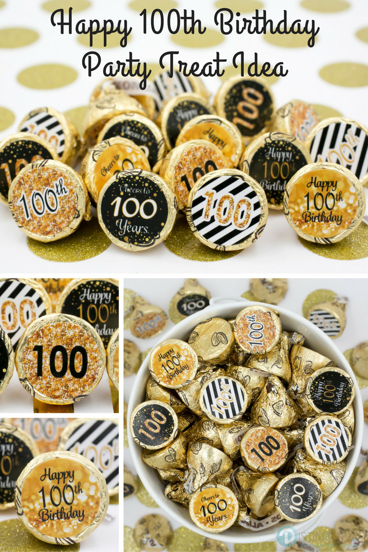 100 Year Old Birthday Decorations  Black and Gold 100th Birthday Party Favor Stickers Set of