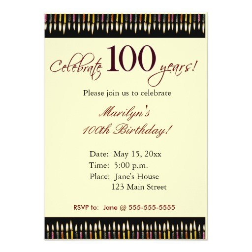 "100 Year Old Birthday Decorations  100 Year old Birthday party invitation 5"" X 7"" Invitation"