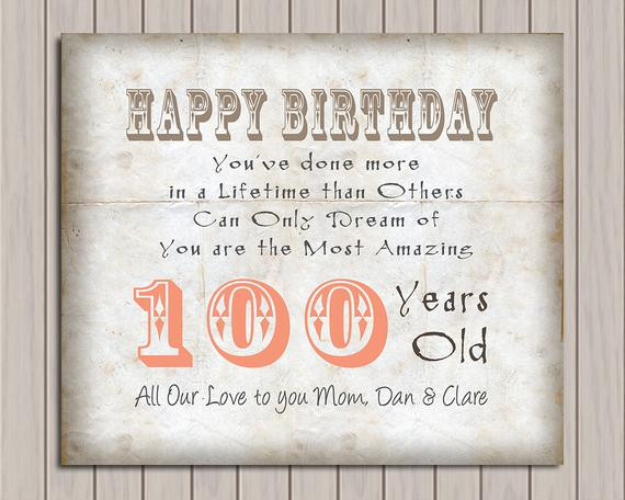 100 Year Old Birthday Decorations  100th Birthday 100 Years Old Birthday Gift Gift from