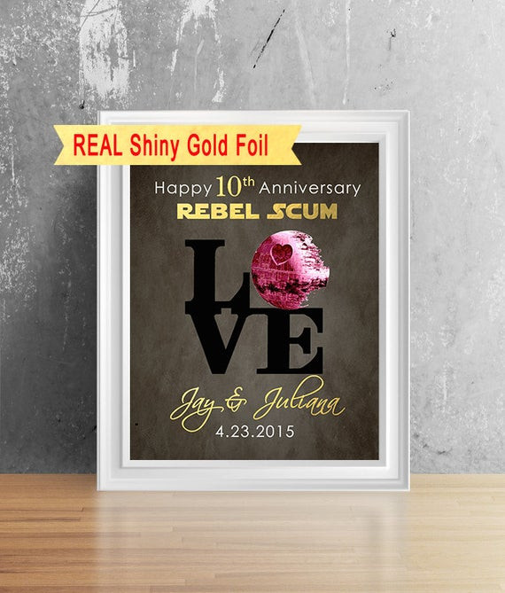 10Th Anniversary Gift Ideas For Him  Items similar to Shiny Gold Foil 10 Year Anniversary For