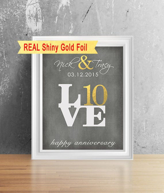 10Th Anniversary Gift Ideas For Him  Real Shiny Gold Foil 10 Year Anniversary Gift For Him Her