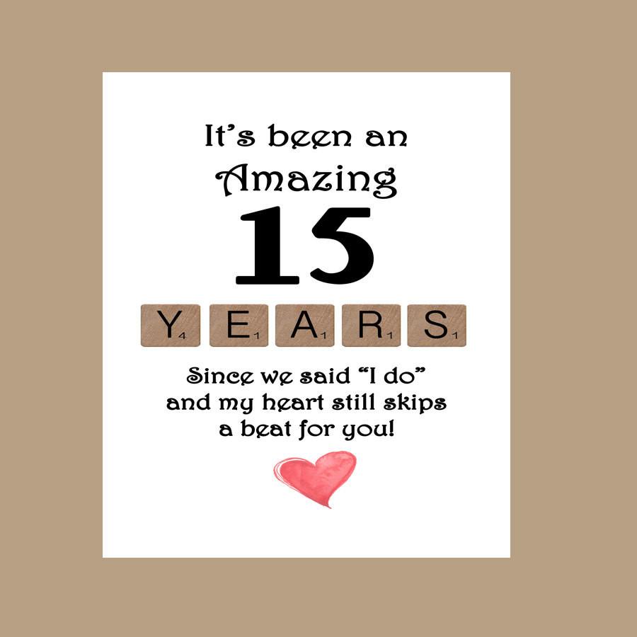 15 Year Wedding Anniversary Quotes  15th Wedding Anniversary Card Fifteen Wedding Anniversary