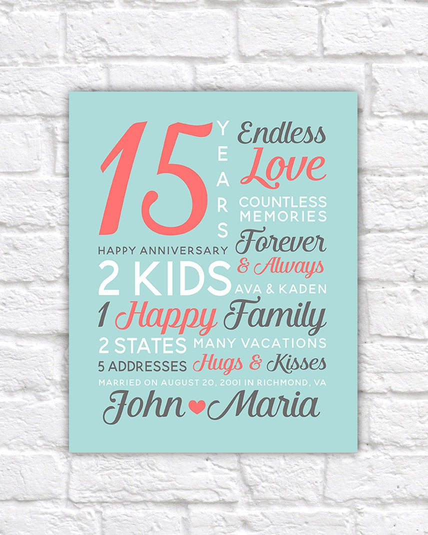 15 Year Wedding Anniversary Quotes  Personalized Anniversary Gifts Wedding Date Canvas Art 15th