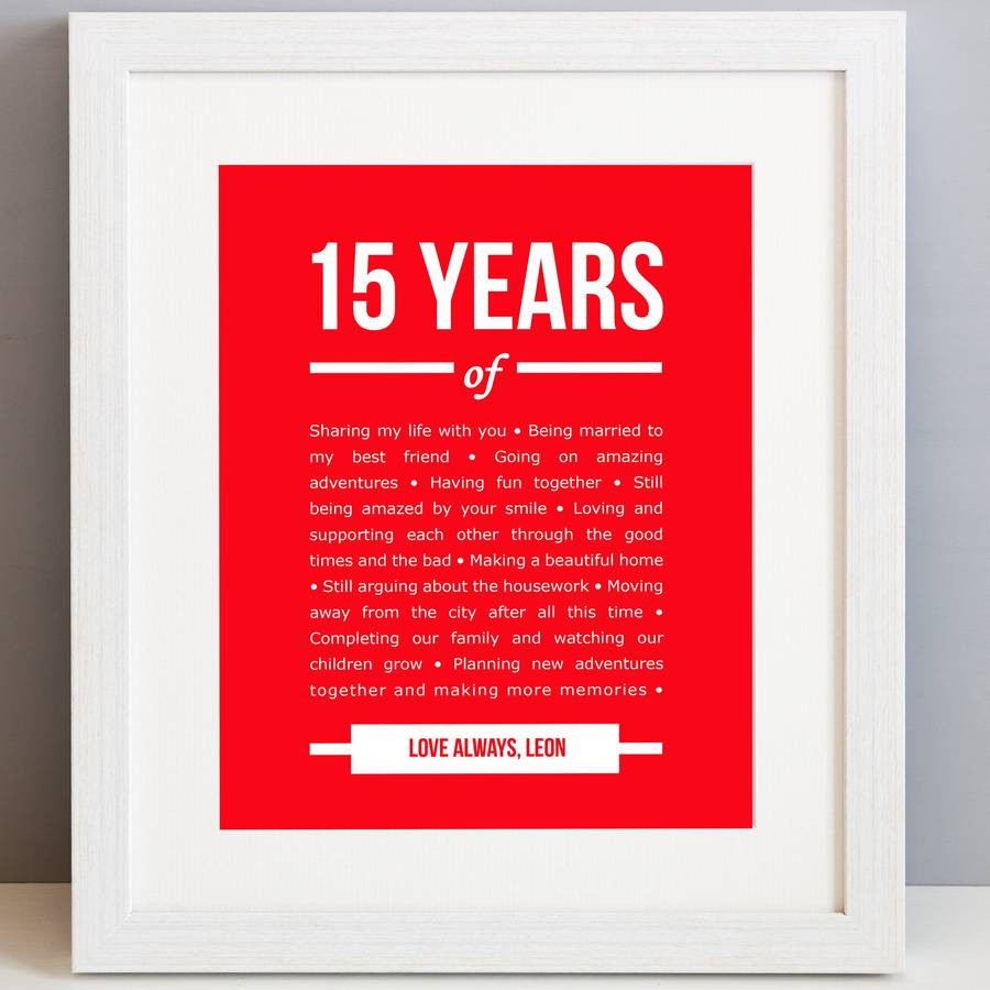 15 Year Wedding Anniversary Quotes  personalised 15 year anniversary print by elephant grey