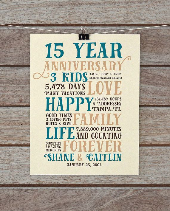 15 Year Wedding Anniversary Quotes  Anniversary Gifts 15 Year Anniversary Present for Him