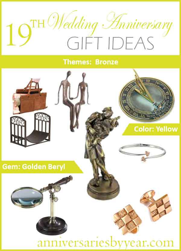19Th Wedding Anniversary Gift Ideas For Him  19th Anniversary Nineteenth Wedding Anniversary Gift Ideas