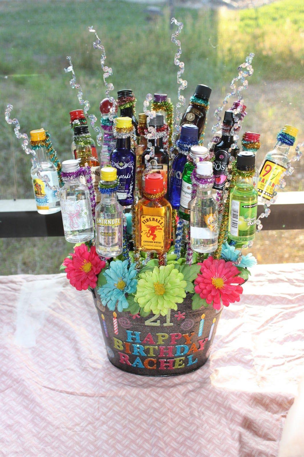 21St Birthday Gifts  Alcohol Basket on Pinterest