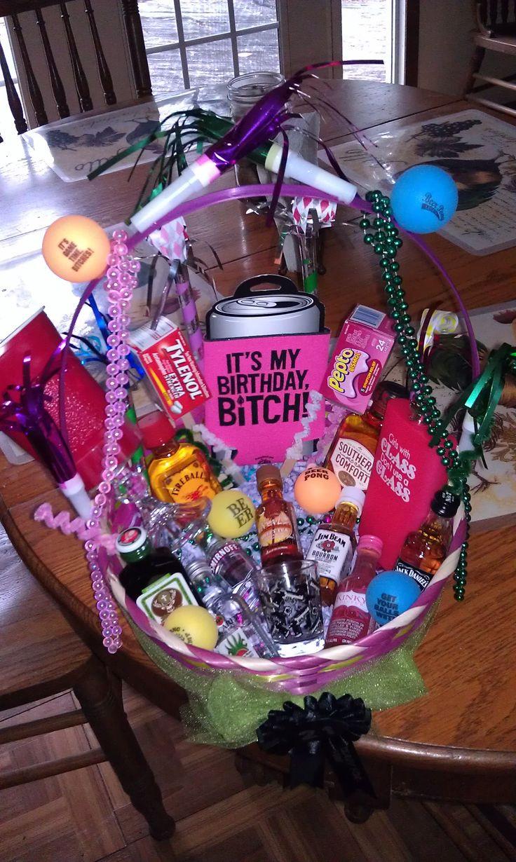 21St Birthday Gifts  21st birthday basket I want this I love it SOMEONE MAKE