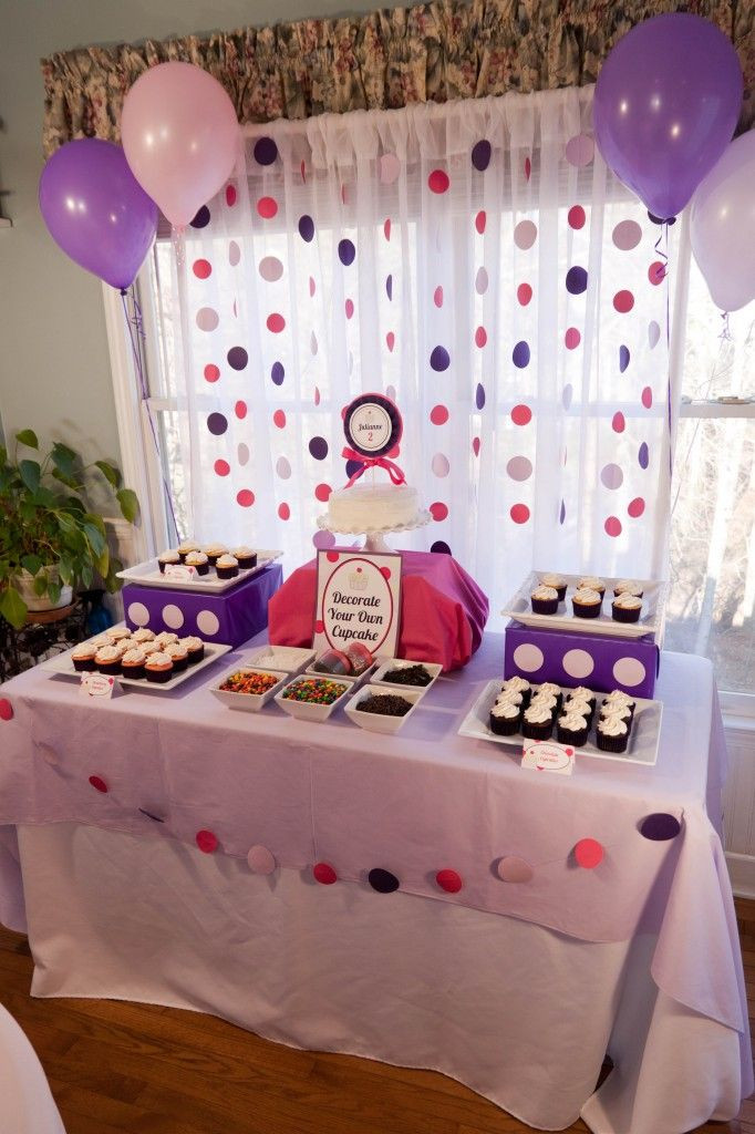 2Nd Birthday Decorations For Girl  Cupcakes and Polka Dots 2nd Birthday Party
