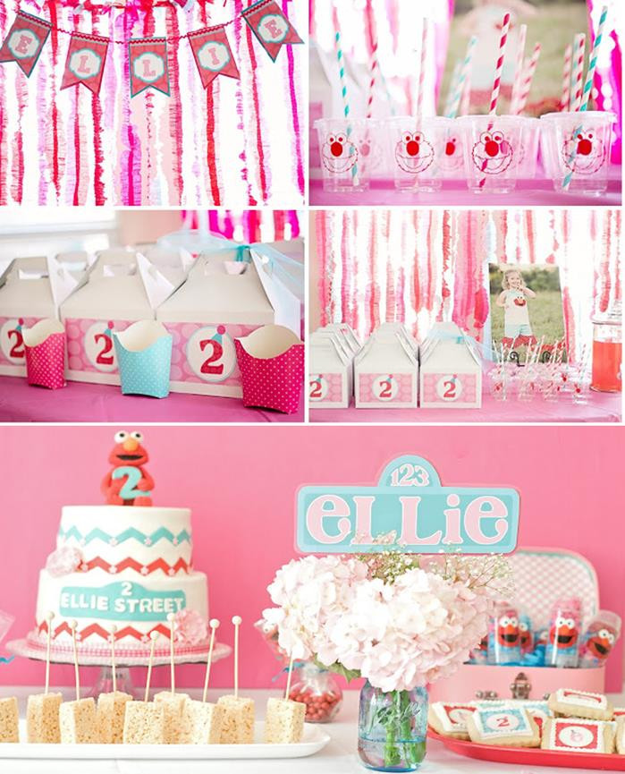 2Nd Birthday Decorations For Girl  Kara s Party Ideas Girly Elmo Party Planning Ideas Cake