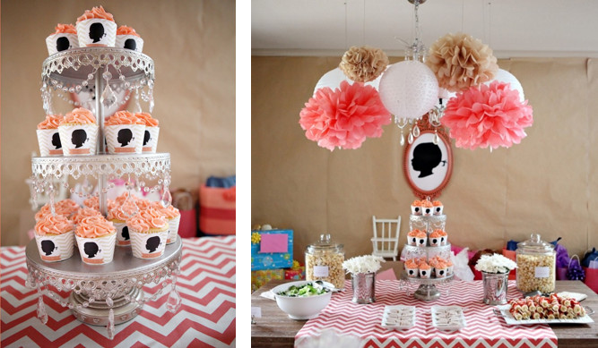 2Nd Birthday Decorations For Girl  Kara s Party Ideas Gilr Silhouette and Chevron Print 2nd