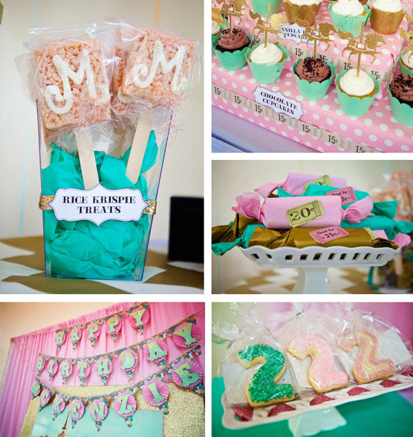 2Nd Birthday Decorations For Girl  Kara s Party Ideas Carousel Cupcake Themed Birthday Party