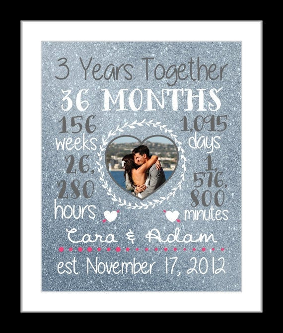 3 Year Wedding Anniversary Gift Ideas For Him  Any 3 Year Anniversary Gift 3 Year Wedding Anniversary