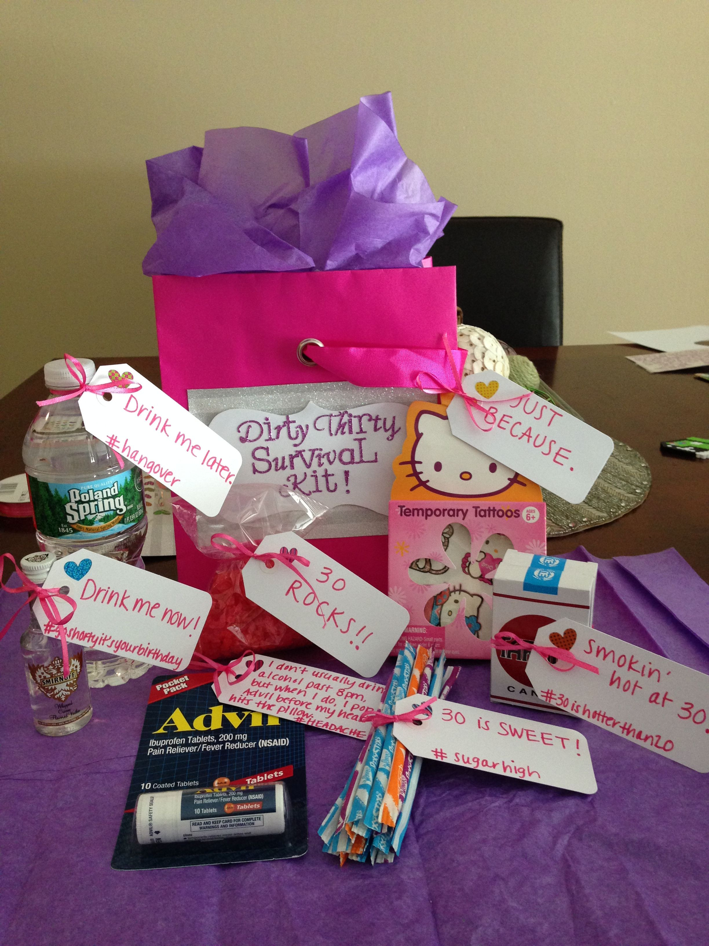 30 Gifts For 30Th Birthday For Her  30th Birthday t for her Dirty 30 Survival Kit