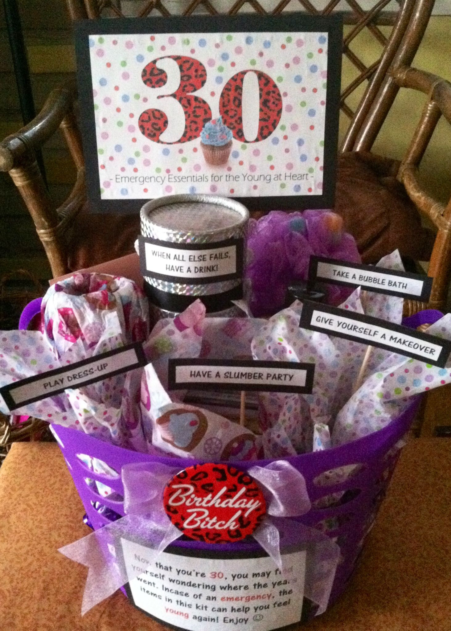 30 Gifts For 30Th Birthday For Her  30th Birthday Gift Basket 5 ts in 1 Emergency