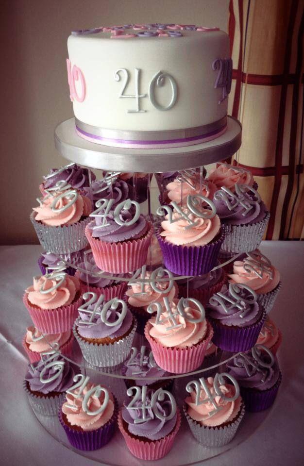 40Th Birthday Cupcakes Ideas  40th birthday cupcake tower