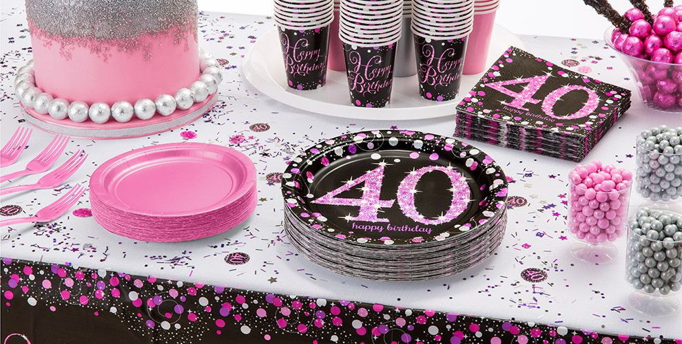 40Th Birthday Decorations Ideas  Pink Sparkling Celebration 40th Birthday Party Supplies