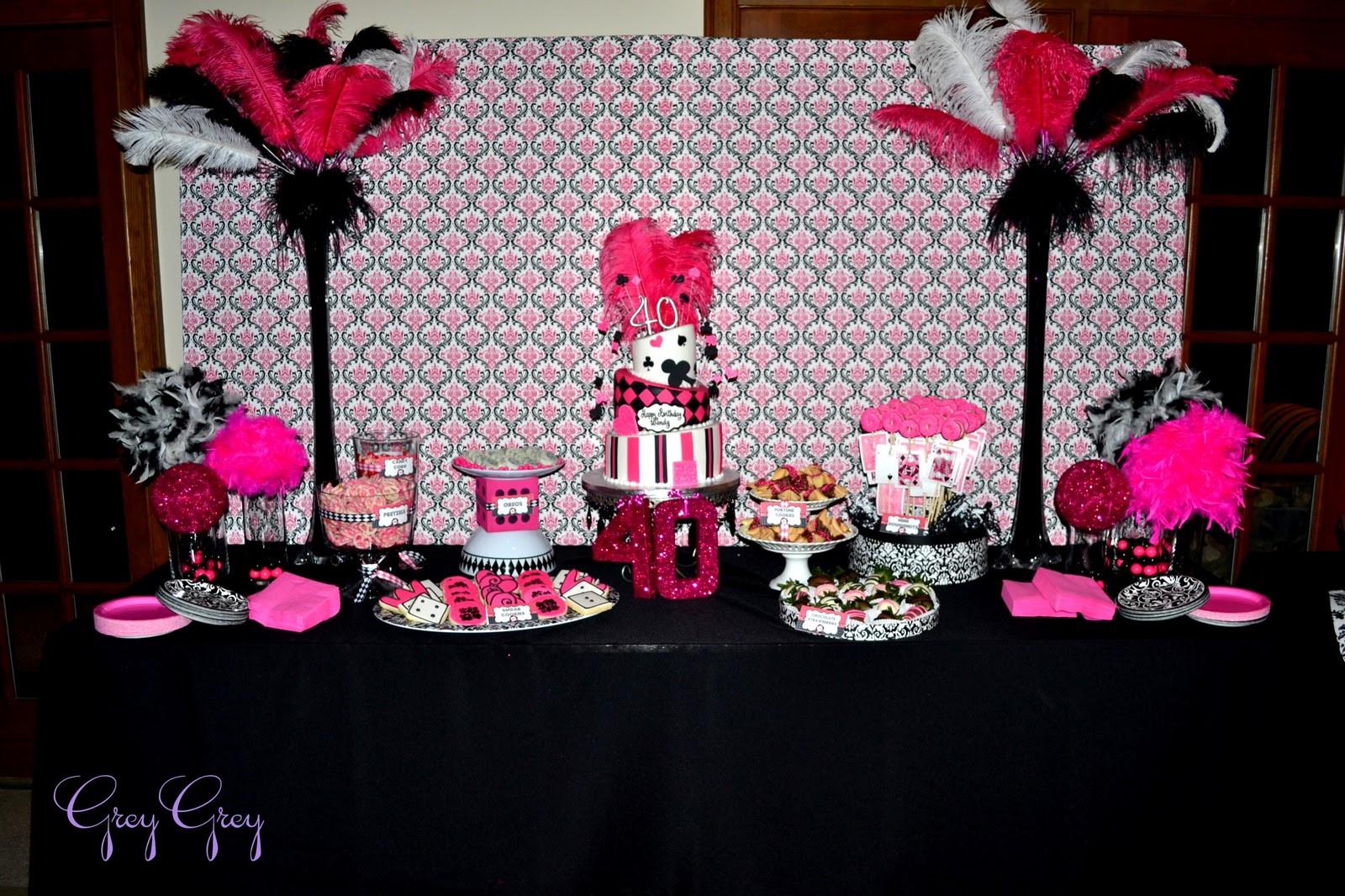 40Th Birthday Decorations Ideas  GreyGrey Designs My Parties Hot Pink Glamorous Casino