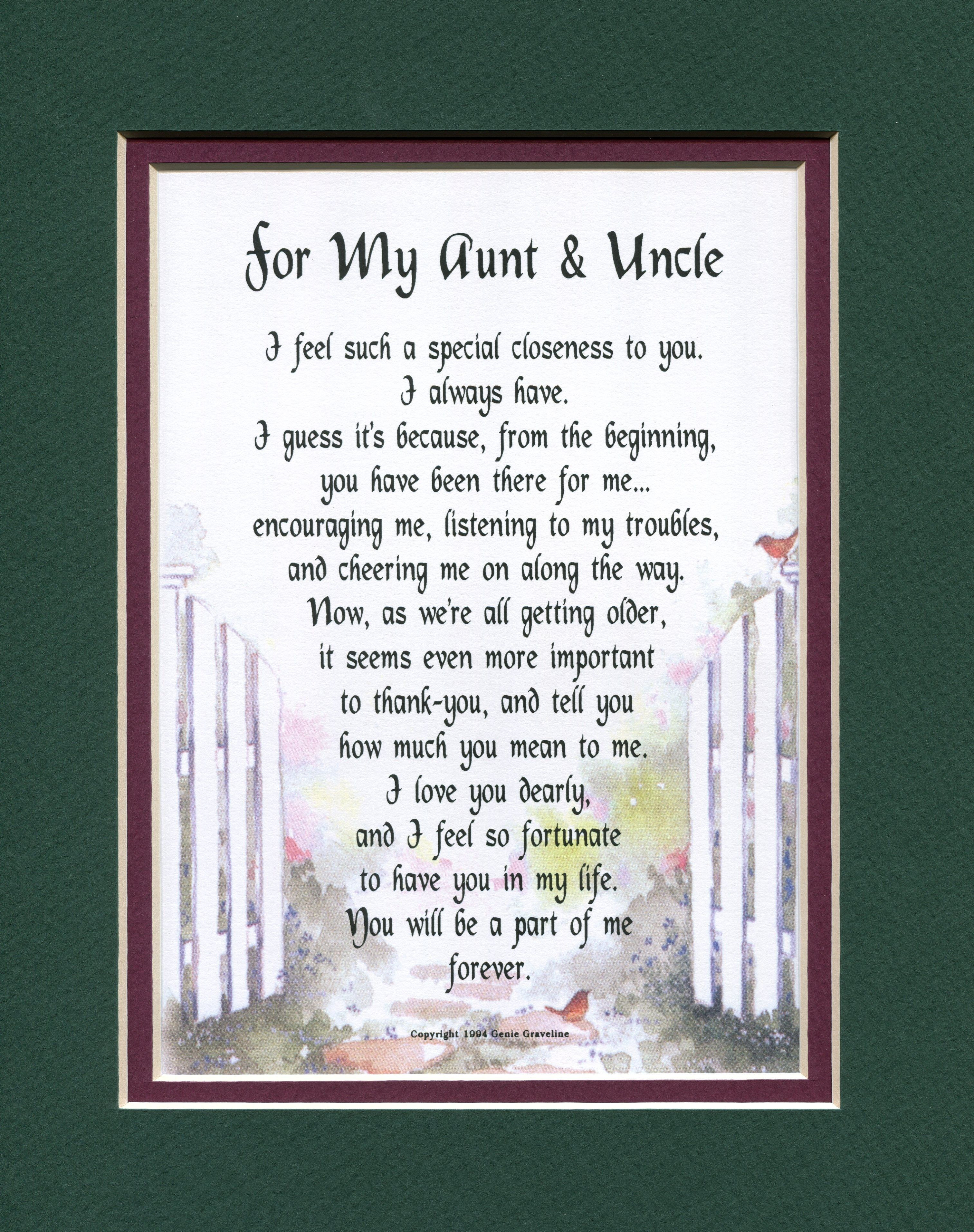 50Th Wedding Anniversary Gift Ideas For Aunt And Uncle  For My Aunt & Uncle