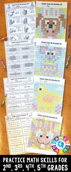 5Th Grade Easter Party Ideas  Minecraft color by number with multiplication and division