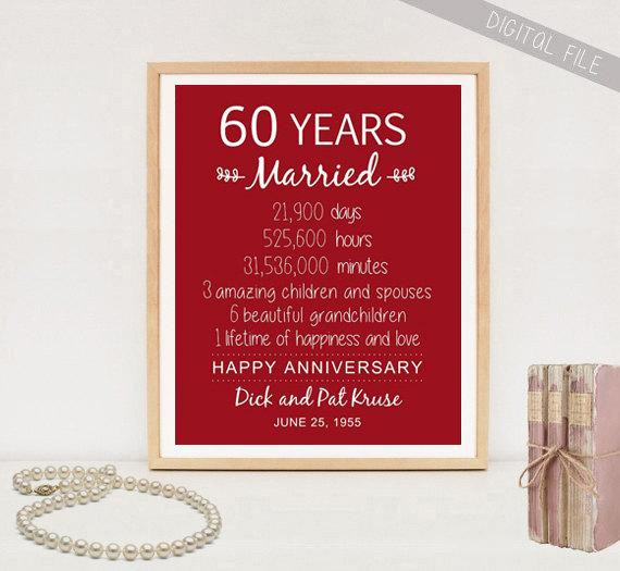 60 Wedding Anniversary Gift Ideas  60th Anniversary Gift 60 years Wedding Anniversary