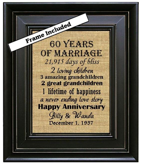 60 Wedding Anniversary Gift Ideas  FRAMED 60th Wedding Anniversary 60th Anniversary Gifts 60th