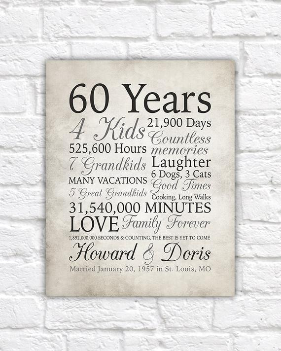 60 Wedding Anniversary Gift Ideas  60th Anniversary Gift 60 Years Married or Any Year Gift for