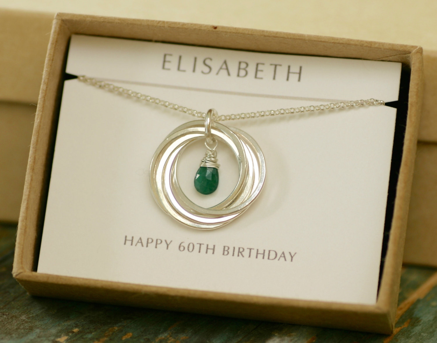 60Th Birthday Gifts For Her  60th birthday t for mum t for women emerald necklace