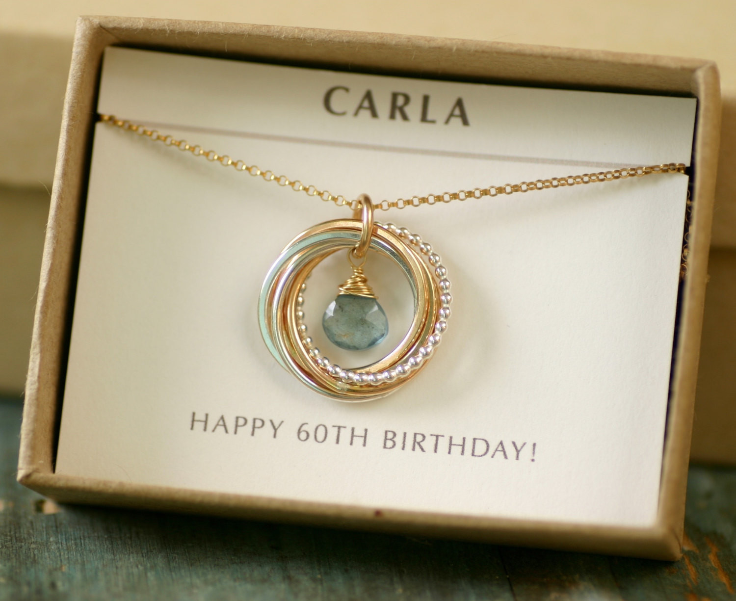 60Th Birthday Gifts For Her  60th birthday t for women aquamarine necklace for mom t