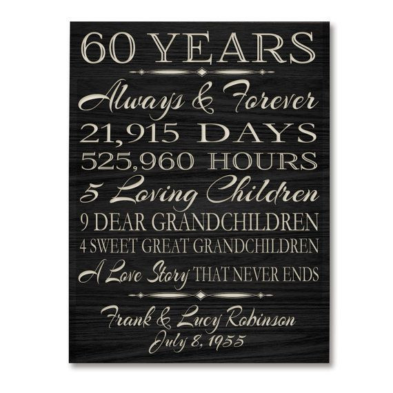 60Th Wedding Anniversary Gift Ideas  Best 25 60th anniversary ideas on Pinterest