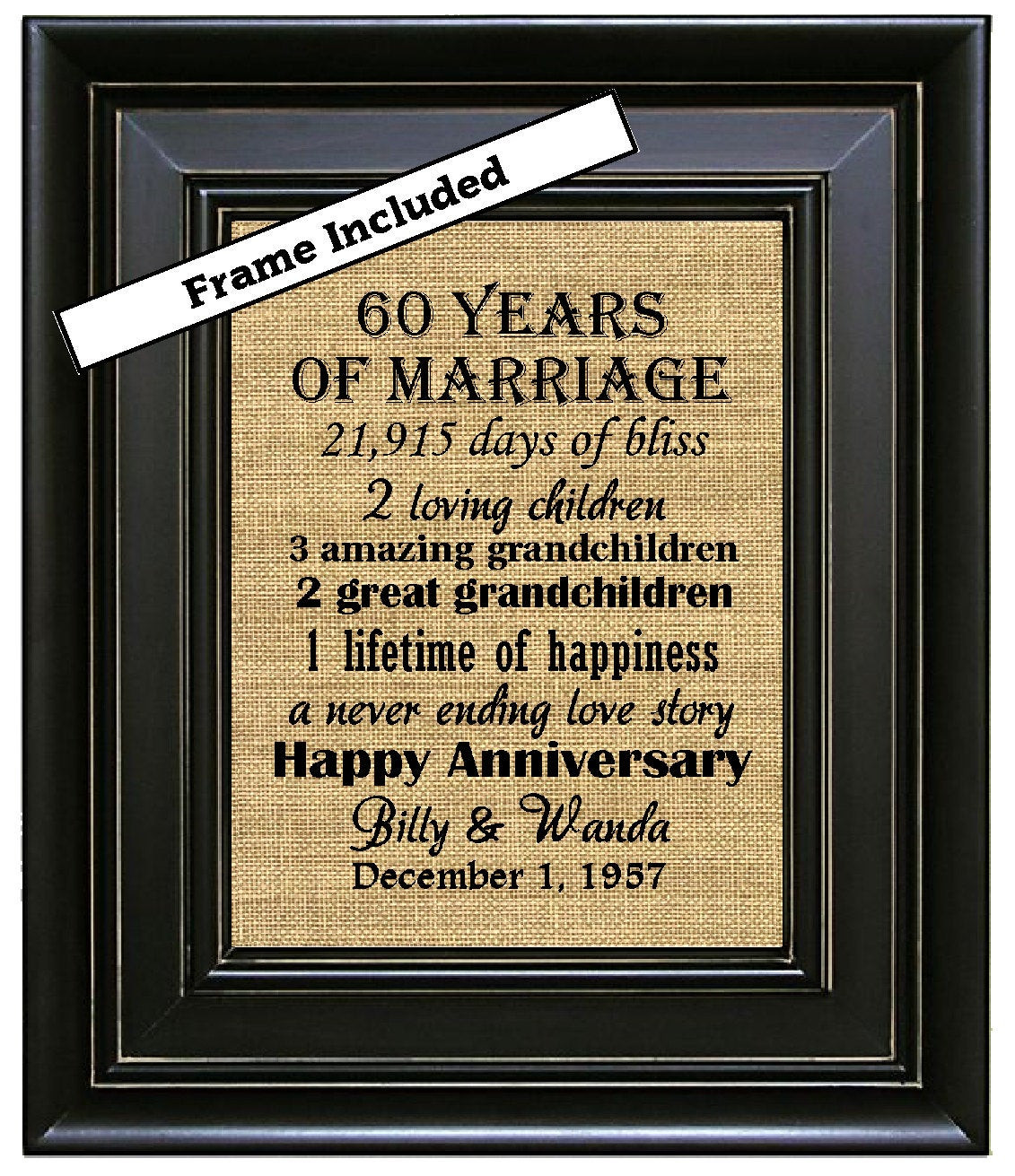 60Th Wedding Anniversary Gift Ideas  FRAMED 60th Wedding Anniversary 60th Anniversary Gifts 60th