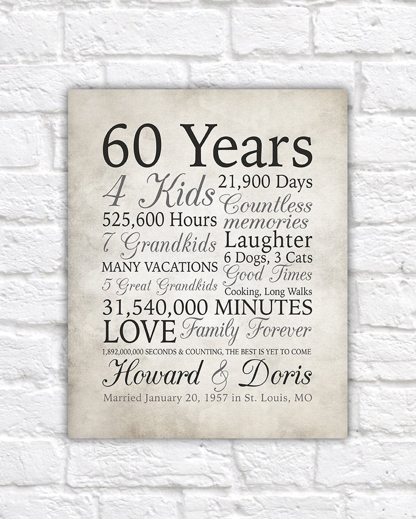 60Th Wedding Anniversary Gift Ideas  60th Anniversary Gift 60 Years Married or Any Year Gift for