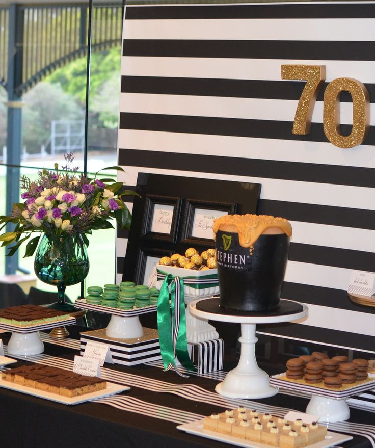 70Th Birthday Table Decorations  70th Birthday Dessert Table Guinness Theme