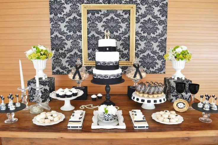 70Th Birthday Table Decorations  Gold & Black Damask 70th Birthday Party