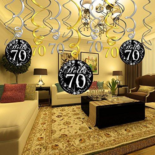 70Th Birthday Table Decorations  70Th Birthday Decoration Hanging Swirl 15Counts Happy & 70