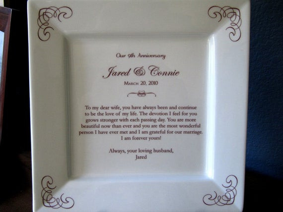 9Th Anniversary Gift Ideas  Ninth 9th Anniversary Gift Platter by customsepia on Etsy