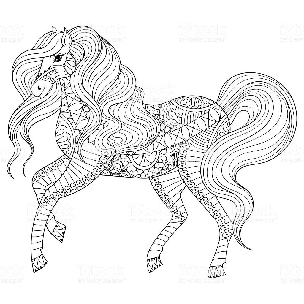Adult Coloring Pages Horses  Hand Drawn Horse For Adult Coloring Page Art Therapy Stock
