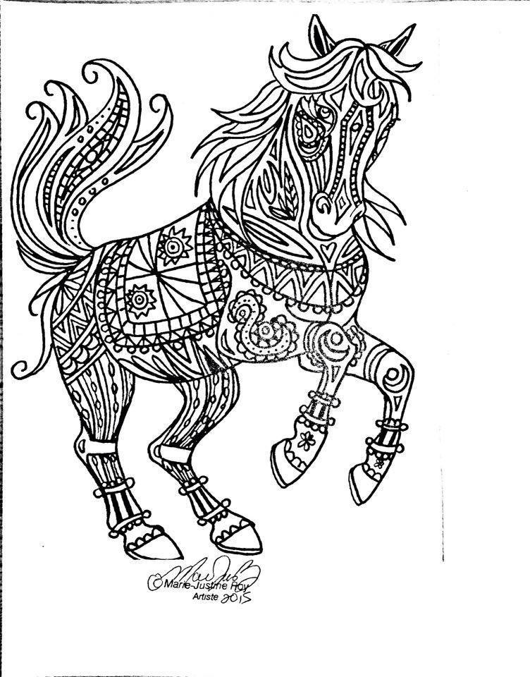 Adult Coloring Pages Horses  Marie Justine Roy Artist And Illustrator – Adult Coloring