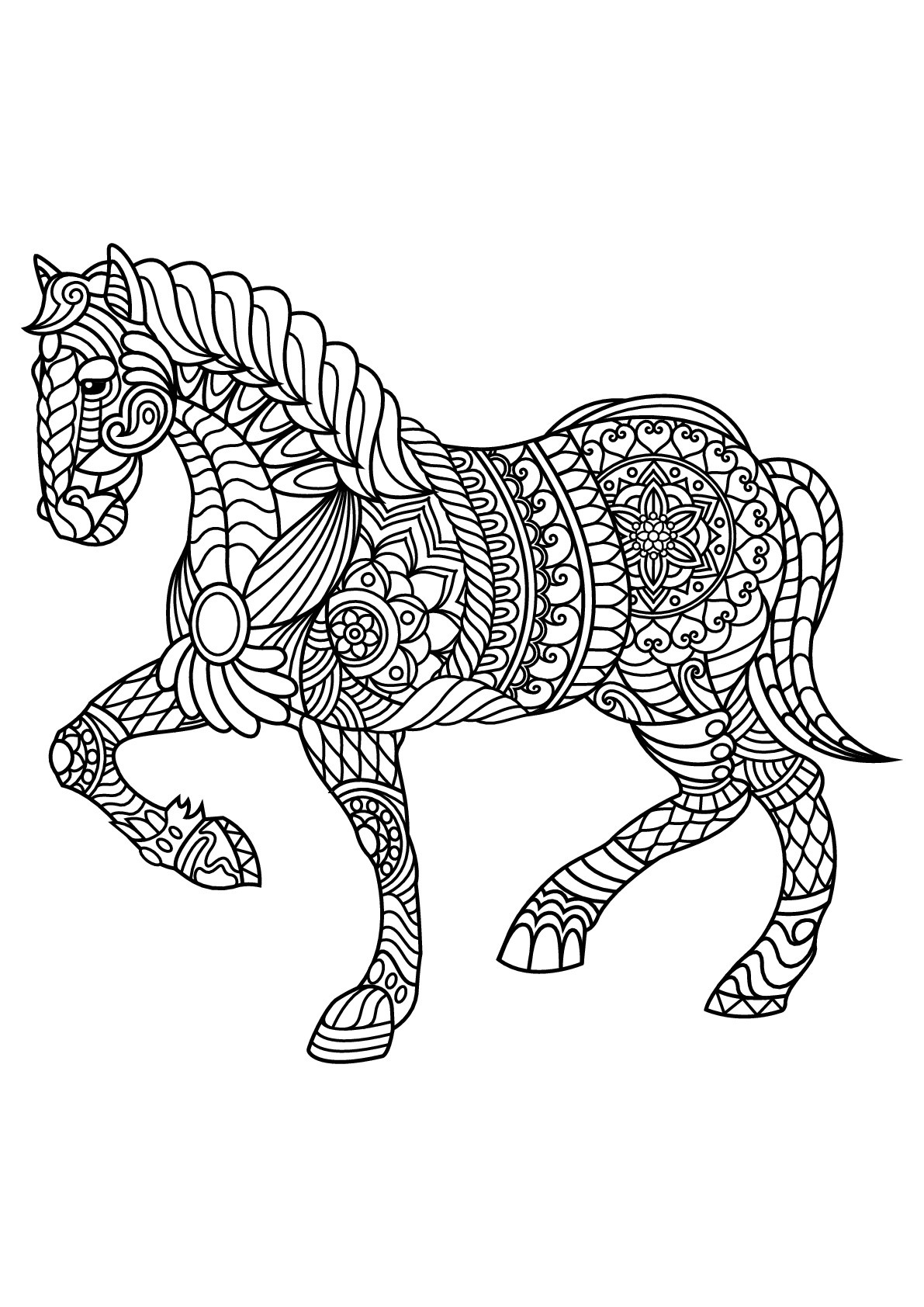 Adult Coloring Pages Horses  Free book horse Horses Adult Coloring Pages