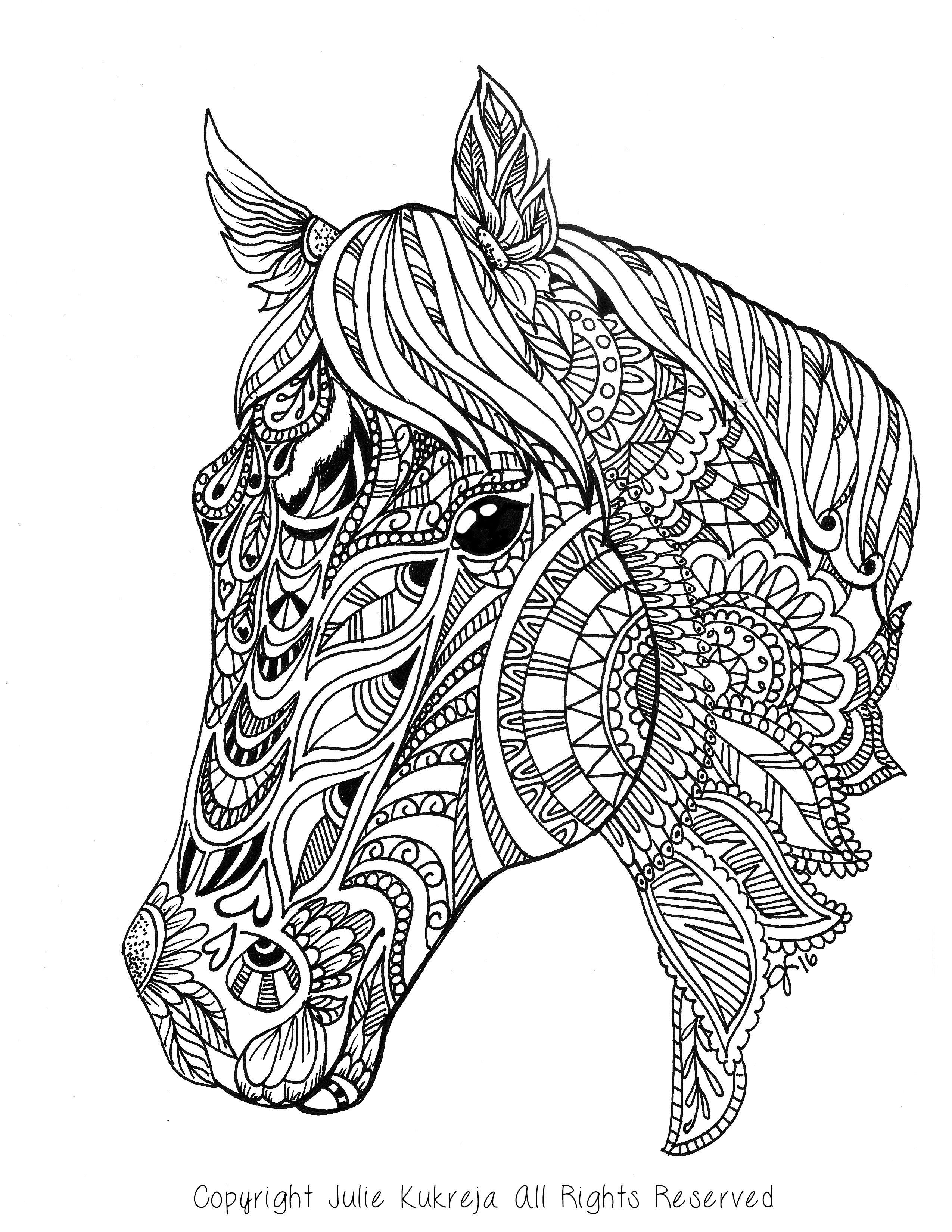 Adult Coloring Pages Horses  Custom Pet Portrait horse adult coloring book style by