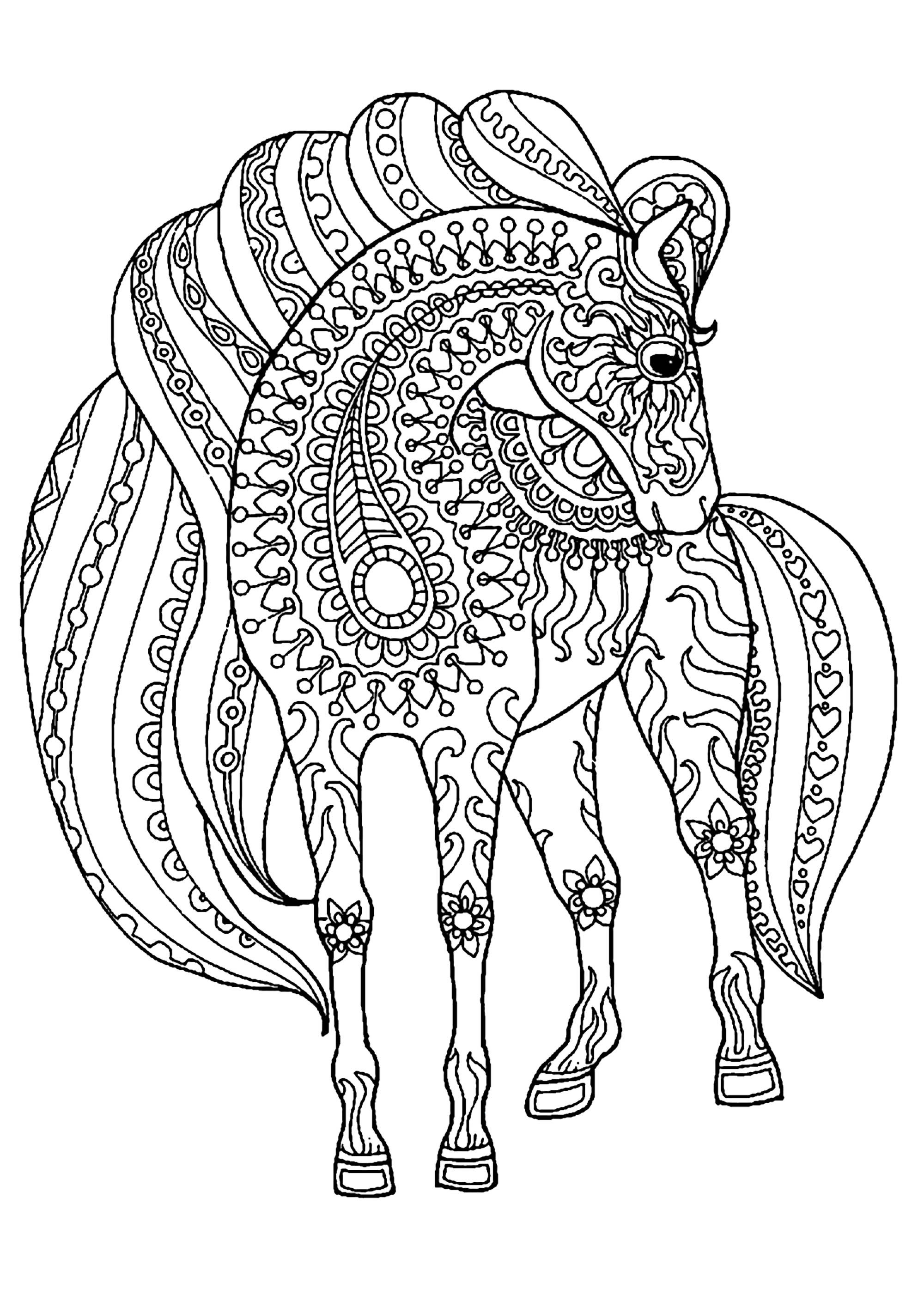 Adult Coloring Pages Horses  Horse simple zentangle patterns Horses Adult Coloring Pages