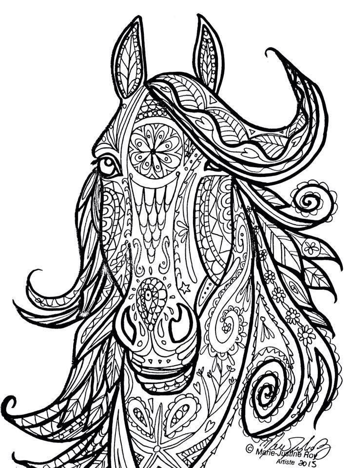 Adult Coloring Pages Horses  Horse Tribal Head Art by Marie Justine Roy