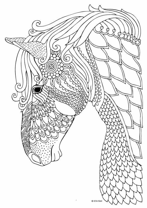 Adult Coloring Pages Horses  Horse coloring page for adults illustration by Keiti