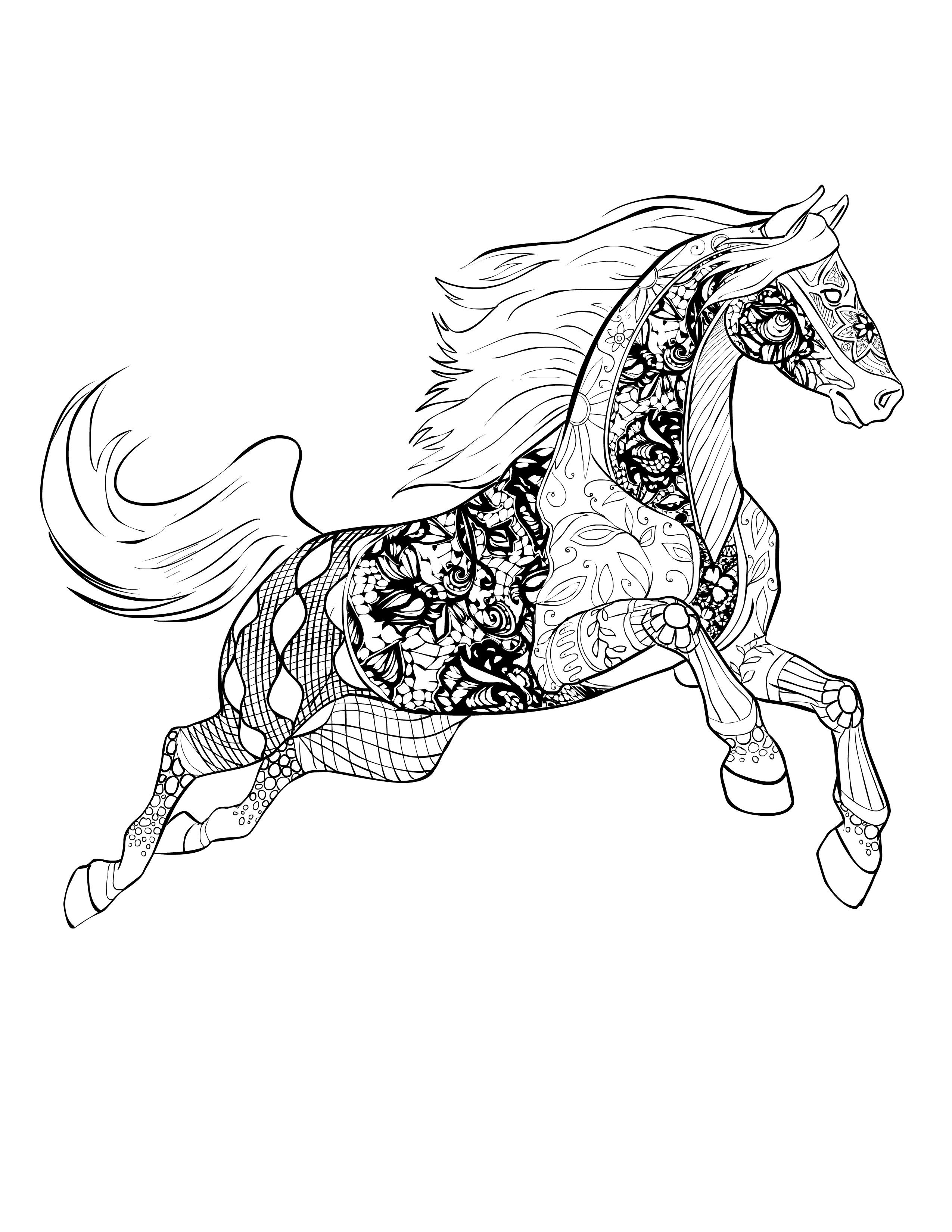 Adult Coloring Pages Horses  Horse free Selah Works