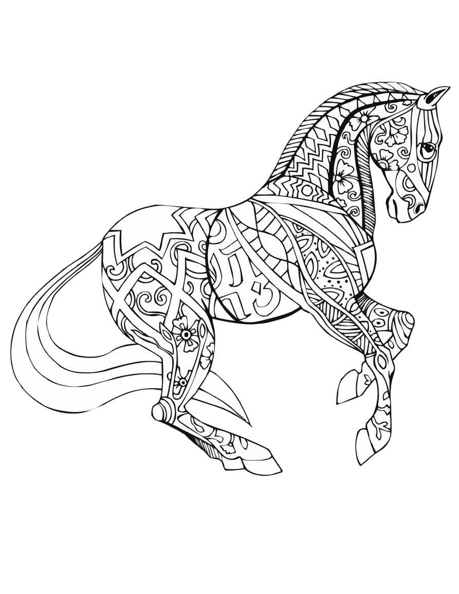 Adult Coloring Pages Horses  Free Printable Adult Coloring Pages